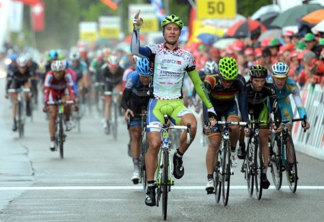 And this is what Peter Sagan looks like winning a sprint. In the rain. (Image courtesy of Liquigas)
