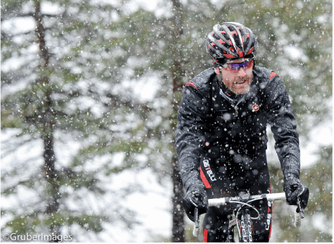 Jered riding through the snow