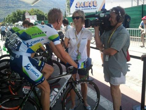 Always a ready welcome for Petra at the Orica-GreenEDGE bus