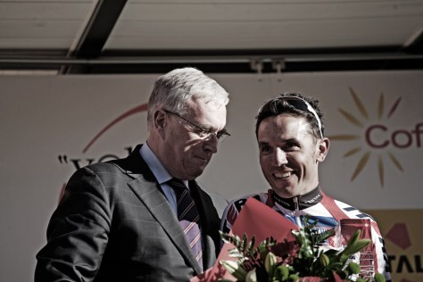 Local favourite Joaquim Rodriguez was presented with his trophy as 2012's No. 1 rider from UCI's Pat McQuaid