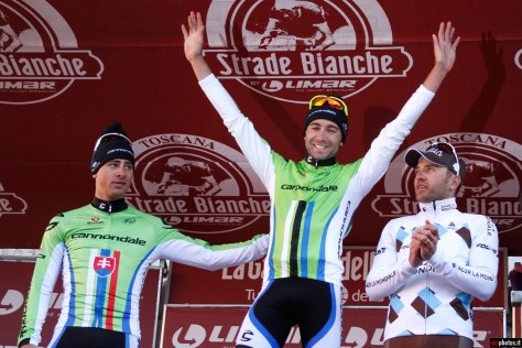 The podium for 2013 Strade Bianche