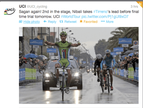 Tirreno Sagan win