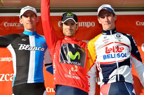 Valverde successfully defends Ruta del Sol title, flanked by Mollema and Van Den Broeck (image: Movistar)