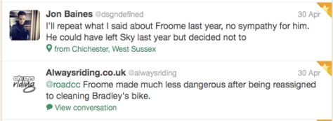 BW Froome no sympathy