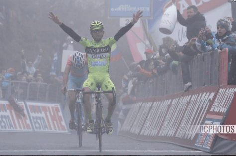 Santambrogio emerges from the gloom like a two-wheeled headlamp to win stage 14 (Image: Davide Calabresi)