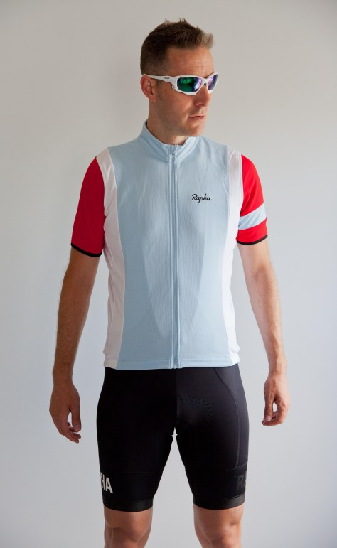 The Rapha Trade Team Jersey and Pro Team Bib Shorts paired together.