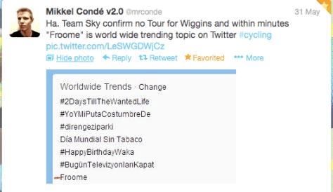 Wiggins Froome trending