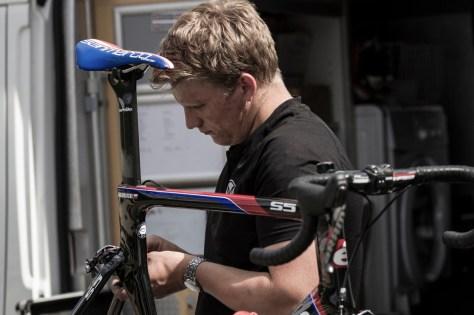 Sam Hayes preparing the bikes (mechanic)