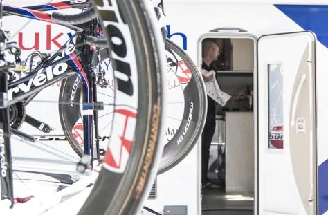 Ben (head soigneur) making final preparations in the team van