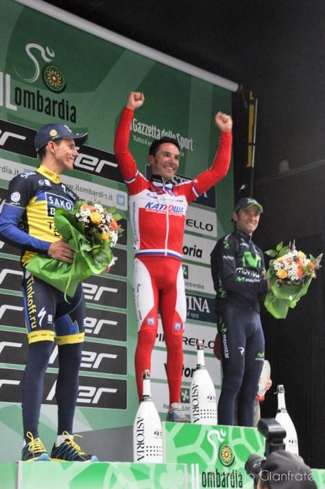 Podium l to r Rafal Majka, Purito, Alejandro Valverde