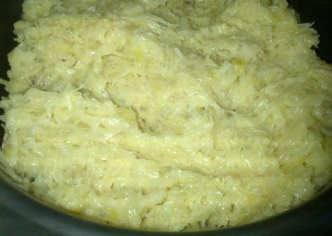 layers of pork and sauerkraut ready for some gentle cooking (image: Sheree)