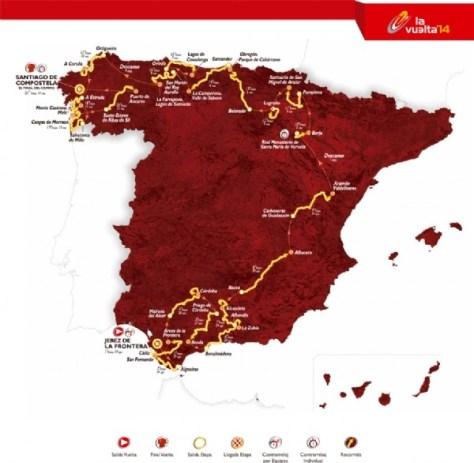 Route map of 2013 Vuelta a Espana (image: Unipublic)
