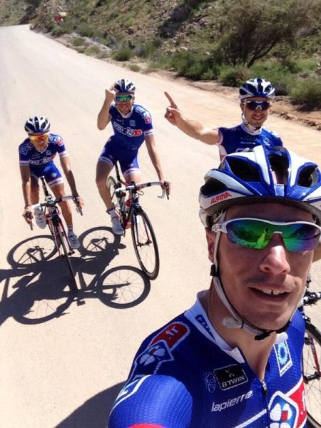 Don't know who Thibaut was giving the finger to but the following day he was struck down by a fever! (image: FDJ)