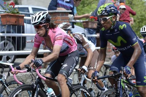Uran (left) and the other GC favourites had no response when Quintana (right) attacked (Image: Giro d'Italia)