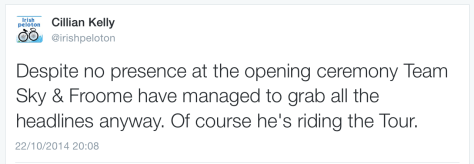 TdF Froome tweet reaction 1