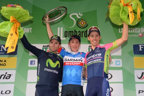 All smiles on the podium except for Valverde who's looking very tight lipped. (image: Gian Mattia D'Alberto/La Presse)