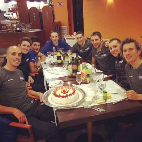Birthday boy Seb celebrating on the eve of this year's Milan San Remo (image: FDJ)
