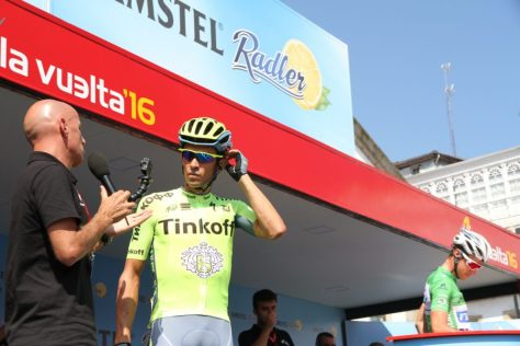 Juan Mari interviewing Contador at stage start in Lugones (image: Richard Whatley)