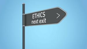 ETHICS next exit sign