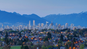 View to North Shore mountains, Vancouver, BC, Canada