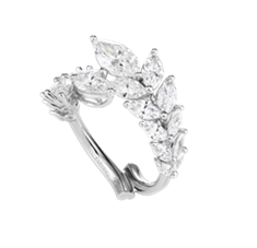"""Chopard ring featuring 2.90-carats of marquise-cut diamonds set in 18k white Fairmined gold from the """"Green Carpet Collection"""""""