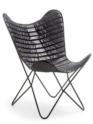 Butterfly armchair black leather