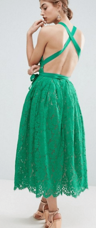 Lace Pinny Backless Full Midi Prom Dress