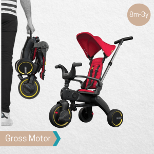Doona Liki Trike S1 open and folded, available for rental from the Pebbl Playbox Singapore