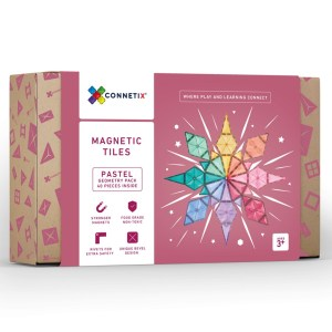 Connetix Tiles 40 pc Geometry pack with new triangles, available from Velvetgear Singapore