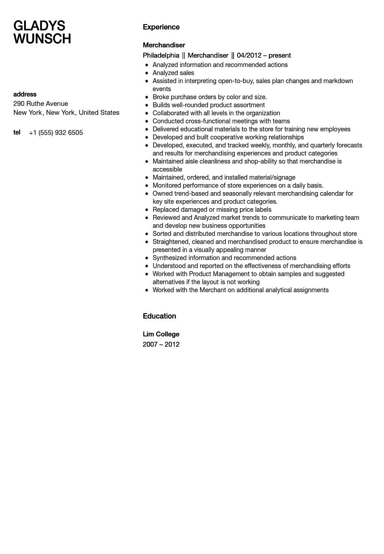 Merchandiser Resume Sample Velvet Jobs