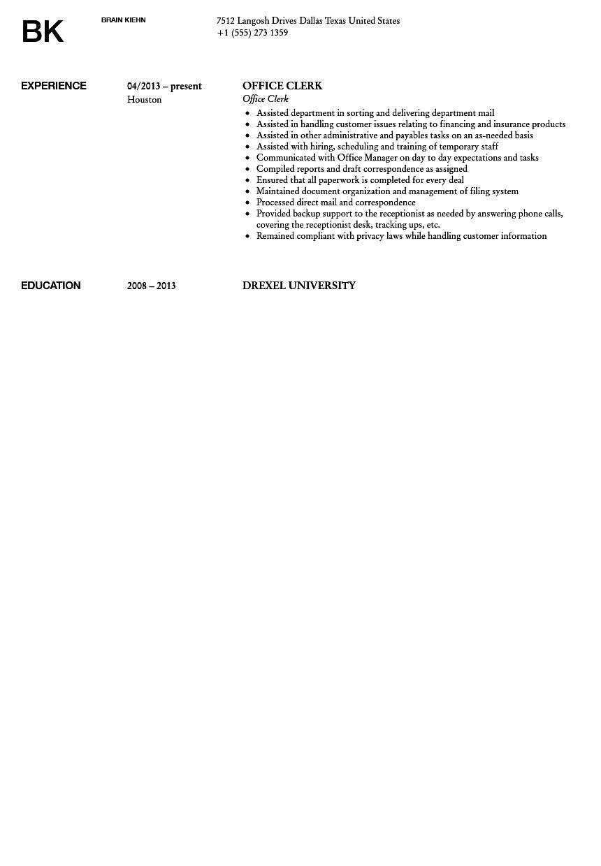 Office Clerk Resume Sample Velvet Jobs