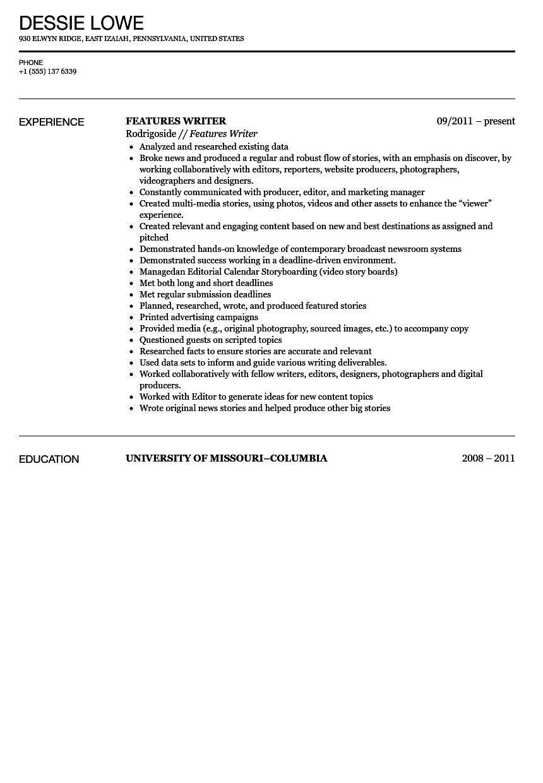 digital content writer resume sample