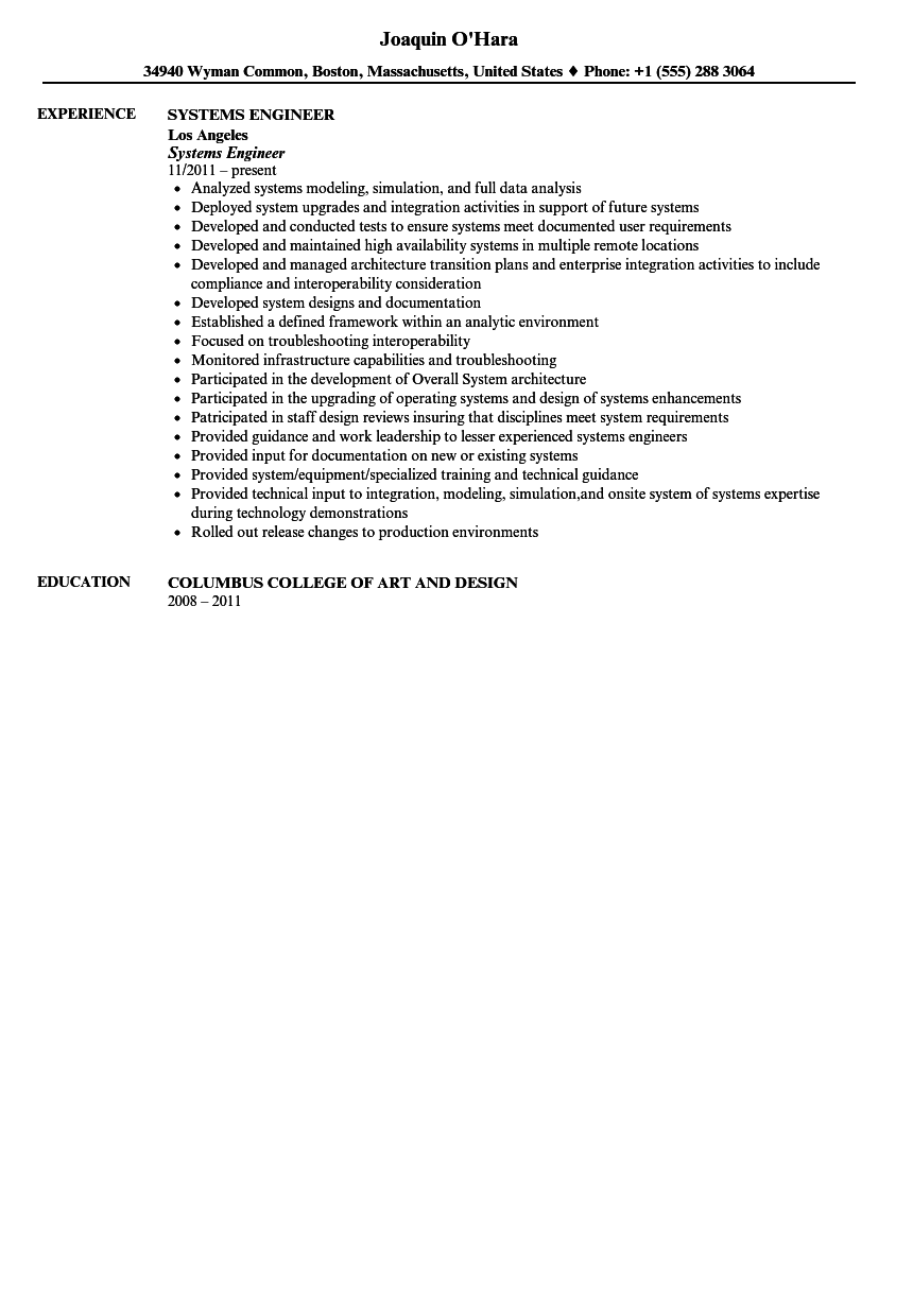 Systems Engineer Resume Sample Velvet Jobs