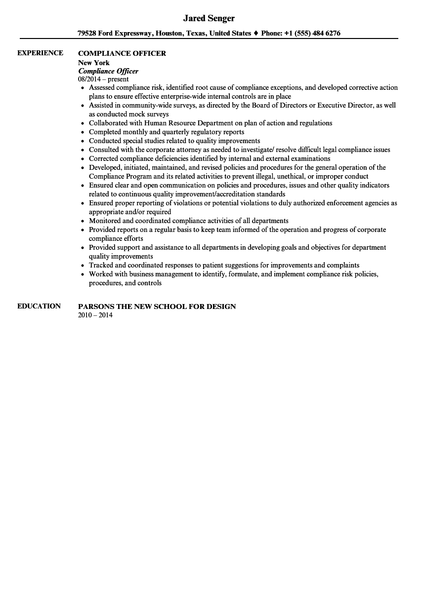 sample resumes for compliance officer
