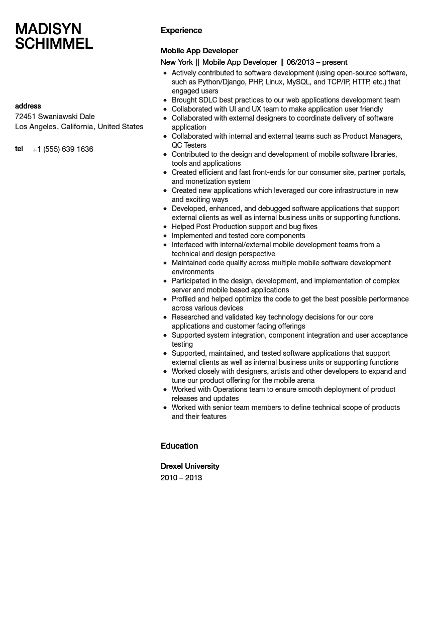 Mobile Application Developer Resume Sample Velvet Jobs