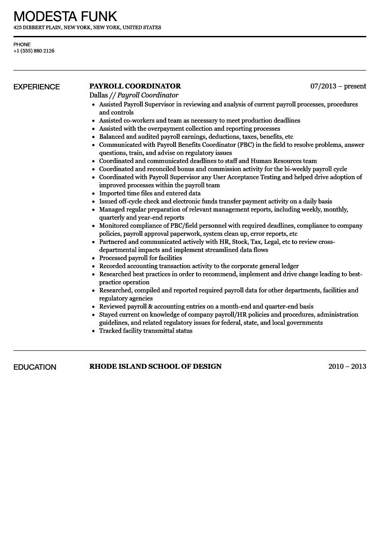 Payroll Coordinator Resume Sample Velvet Jobs