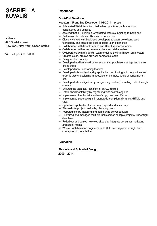 Front End Developer Resume Sample Velvet Jobs