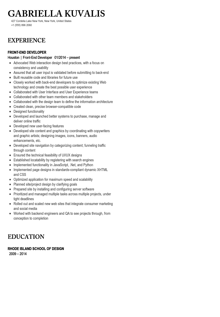 Front End Developer Resume Sample Velvet Jobs