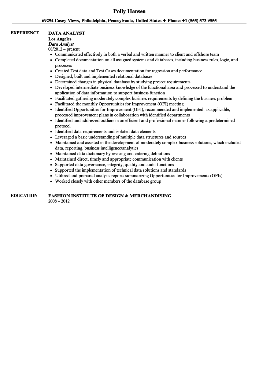 Data Analyst Resume Sample Velvet Jobs