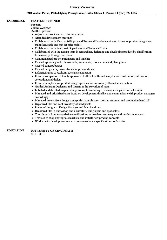 Textile Designer Resume Sample