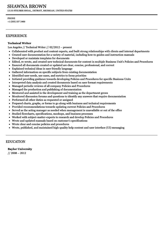 Technical Writer Resume Sample Velvet Jobs