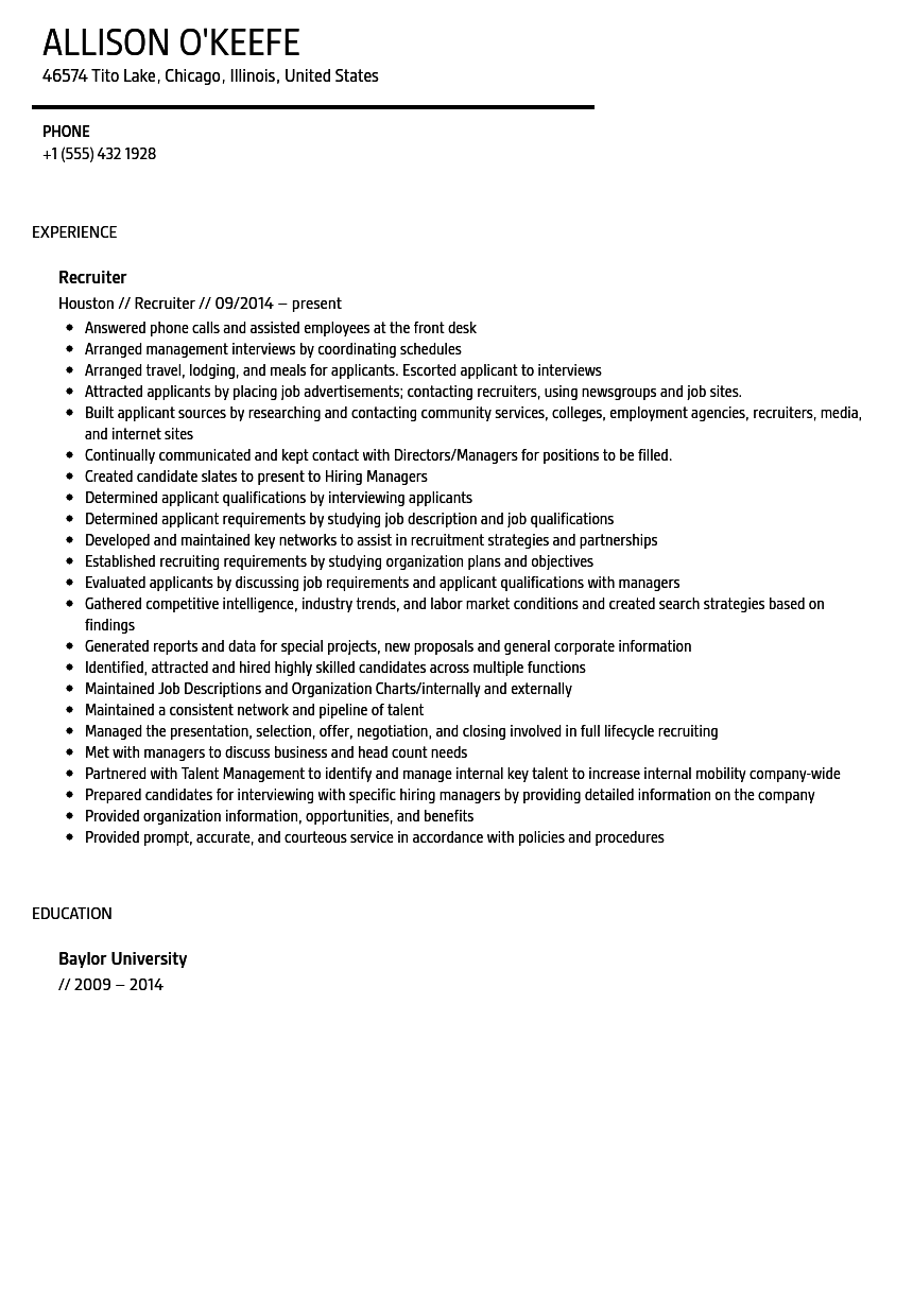 Recruiting Resume Examples - Examples of Resumes