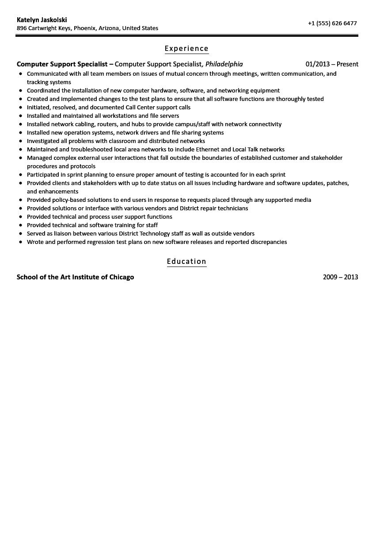Computer Support Specialist Resume Sample  Velvet Jobs