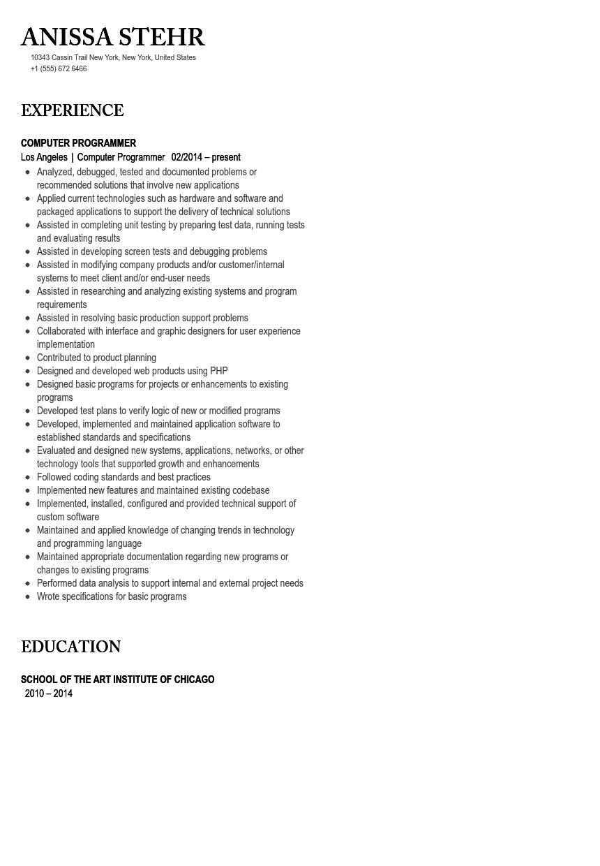 Computer Programmer Resume Sample Velvet Jobs