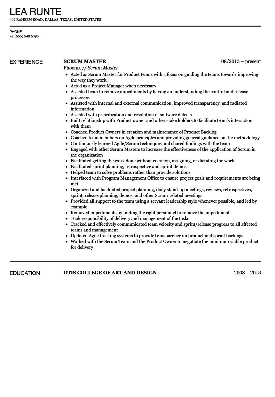 Scrum Master Resume Sample  Velvet Jobs
