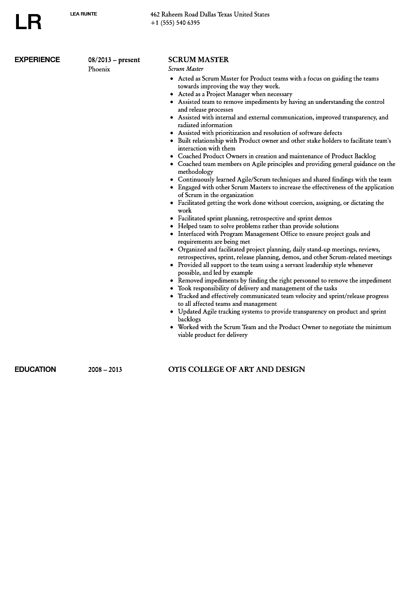 Scrum Master Resume Example Subject Line In Job