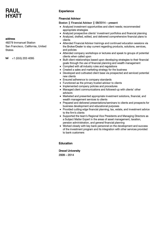 Financial Advisor Resume Sample Velvet Jobs