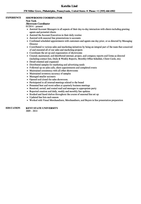 Showroom Coordinator Resume Sample Velvet Jobs
