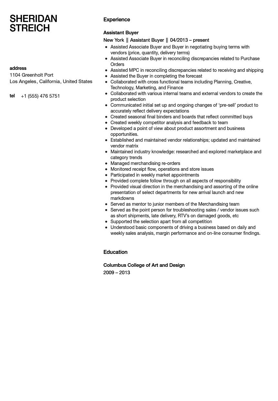 Assistant Buyer Resume Sample Velvet Jobs