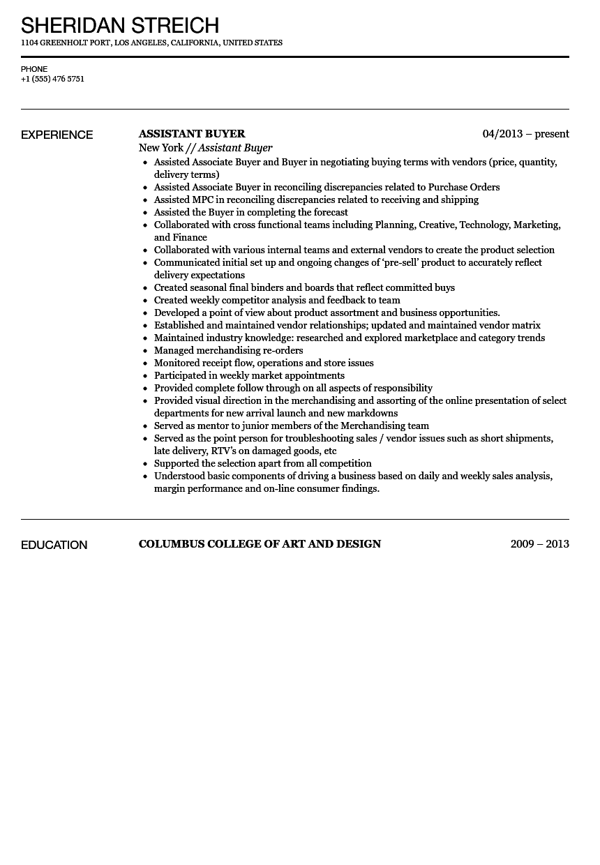 assistant fashion buyer resume sample